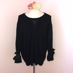Bow ruffle sleeve top